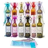 Qiundar Bolsas Botellas Vino Organza, 36 Pieza Bolsas Vino Regalo Bolsa de Organza Grande con Cordón para Boda Cumpleaños Partido