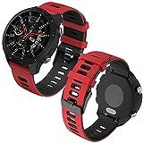Th-some 22mm Repuesto de Correa para Samsung Galaxy Watch 3 (45mm)/Gear S3 Frontier/Classic/Galaxy Watch 46mm/Huawei GT/GT2 46mm, Banda de Reloj de Silicona Bicolor Ajustable (Negro rojo)