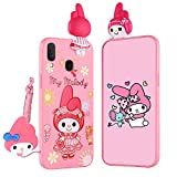 HikerClub Galaxy A10s Case My Melody 3D Cartoon Case Kawaii Unique Protection Case with Detachable Long Lanyard Neck Strap Band Soft Lovely Cover for Children Kids Girls (A10s
