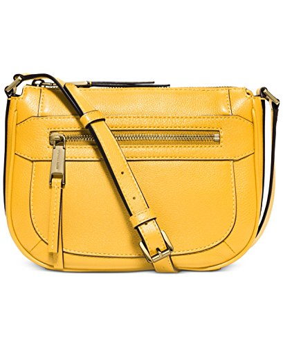 """Leather. Gold-tone hardware. Zip closure. Zip pocket and open pocket inside Adjustable strap Front zip pocket outside Approx. 9.5(L) x 7.5(H) x 2.25(D)""""; 22.5"""" strap drop"""