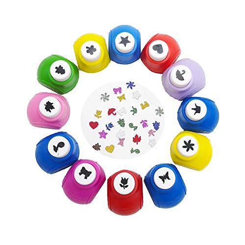 12 PCS Mini Paper Craft Punch,Colorful Paper Punches,Hole Puncher Shape for DIY Printing,Scrapbooking