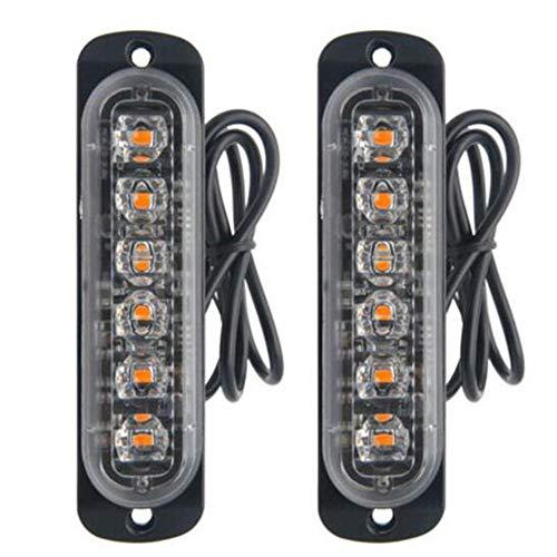 Viktion 2pcs 6 LEDs Feux de Pénétration Camion 18W Lumière Stroboscopique Eclairage Clignotant à 18 Modes Fixation à vis IPX4 pour Voiture Camion véhicule SUV DC 12-24V (6LED Jaune)