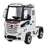 Devessport - Camión eléctrico para niños con Mando de Control Remoto - Mercedes Actros - Camión teledirigido con batería - Ideal para niños de 3 a 8 años (máximo 30 Kg) - 126x68x102 cm (Blanco)