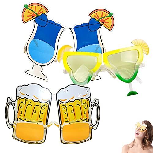 3 Pares Gafas de Sol de Fiesta de Novedad Gafas de Sol Tropicales Hawaianas Gafas Creativas Divertidas Gafas de Fiesta de Playa de Plastico para Fiesta de Disfraces de Verano Fiesta en La Piscina