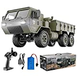 HIBRO RC Cars for Adults and Kids,Army Toys 1:12 Scale 6WD Off-Road RC Military Truck 2.4Ghz Remote Control Car 9.5 MPH High Speed Climbing Vehicle with LED Light RTR for Best Gift Choice