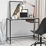 FURNISH 1 Escritorio de Vidrio para computadora con Mesa de Escritura con cajones de Madera para Oficina en casa, Marco Negro 100 * 40 * 75CM