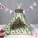 NiQiShangMao 2019 Fashion Pet Teepee Lime Leaves Carpa Perro de Madera Cat Toy House Portátil Lavable Pet Pet Linen