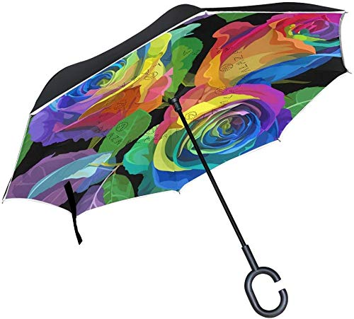 Paraguas de lluvia invertido, resistente al viento, con asa de gancho en forma de C