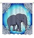 A.Monamour Duschvorhänge Ombre Blauen Hintergr& Spitze Muster Dekorationen Böhmischen Hippie Elefanten Tier Themed Polyester Stoff Wasserdicht Mehltau Resistent Bad Duschvorhang Sets 165X180 cm