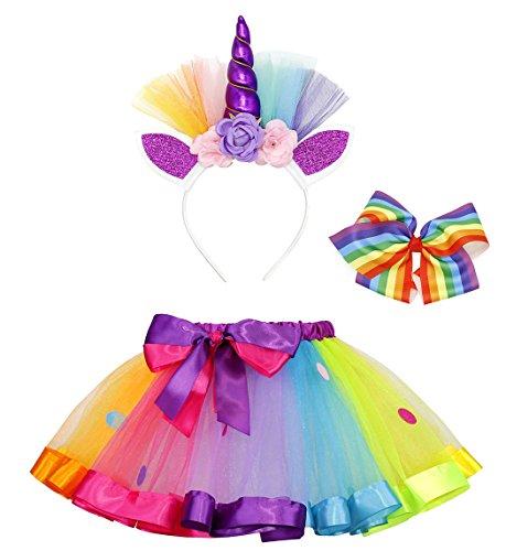AmzBarley Disfraz de Unicornio para niña Falda de tutú arcoíris con Pinza de Pelo Arcoiris y aro de Pelo Unicornio para espectáculos de Baile de Fiesta S