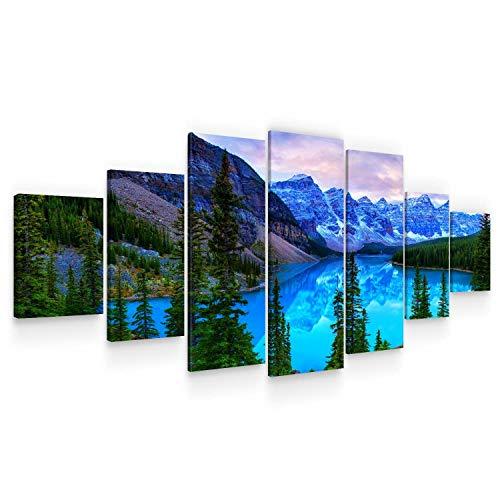 Startonight Grande Quadro su Tela Paesaggio di Montagna Blu, Stampe Incorniciato e Pronta da Appendere Design Moderno Arredamento Arte Fotografia Formato XXL Multipannello di 7 Parti 100 x 240 CM