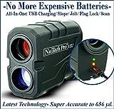 NuTech Pro Rechargeable Golf Rangefinder with Slope USB Charging / 659 Yards. 6X Laser Range Finder....