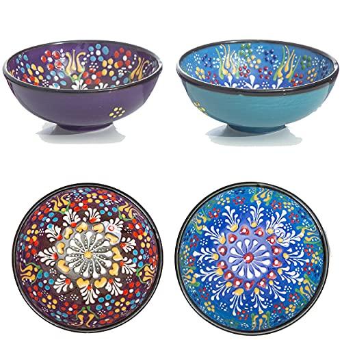 Keramik Schalen Set von 2 Cute Schalen für Frühstück Getreide, Reis, Suppe Brei, Salat, Nudeln, Dessert, Smoothie - bunte Home Decor marokkanischen Mandala Neuheit Servieren