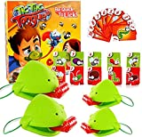 Bavnnro Tongue Game Tongue Catch Bugs Game,Funny Tic Tac Tongue Game Aim with Frog Tongue,Interactive Desktop Frog Eating Mosquito Funny Board Game, Greedy Chameleon Card Tic Tac Novelty Toys (2 PCS)