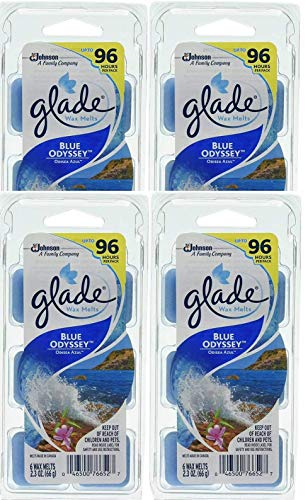 Set of 4 - Glade Blue Odyssey Wax Melts - 24 Total Melts - Each Pack Can Last up To 96 Hours! - Great Fresh Wonderful Scent!