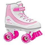 ROLLER DERBY 1978-01 Youth Girls Firestar Roller Skate, Size 1, White/Pink