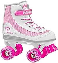 Roller Derby Firestar Youth Girl's Quad Roller Skates, White/Pink, Size 01