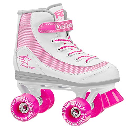 Roller Derby 1978-02 Youth Girls Firestar Roller Skate, Size 2, White/Pink