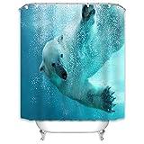 X-Labor Duschvorhang 240x200cm Wasserdicht Stoff Anti-Schimmel inkl. 12 Duschvorhangringe Waschbar Badewannevorhang 240x200cm Muster-D
