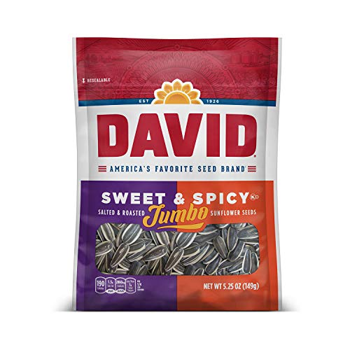 DAVID Roasted and Salted Sweet and Spicy Jumbo Sunflower Seeds, Keto Friendly, 5.25 oz, 12 Pack
