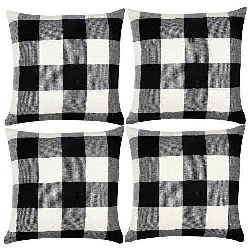 Set of 4 Buffalo Check Throw Pillow Covers 18x18 Inches, Black White Check Pillowcases Tassel Cushion Cover Cases for Sofa Couch Chair Bed Car Farmhouse Home Decor