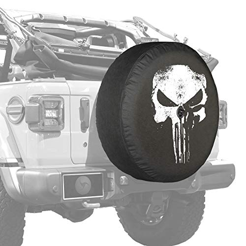 Boomerang - Distressed Skull - 32' Soft JL Tire Cover for Jeep Wrangler JL (with Back-up Camera) - Sport & Sahara (2018-2021)