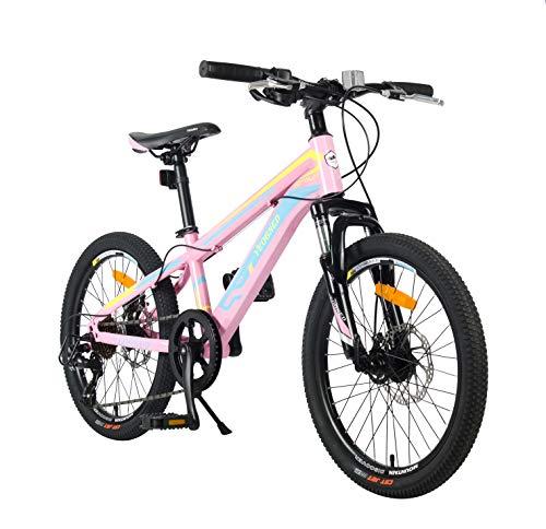 YEOGNED 20inch Girls Steel/Aluminum Mountain Bike,Kids Pink Bike, Bikes for Kids 8/9/10 Years and up (Rainbow/Steel)