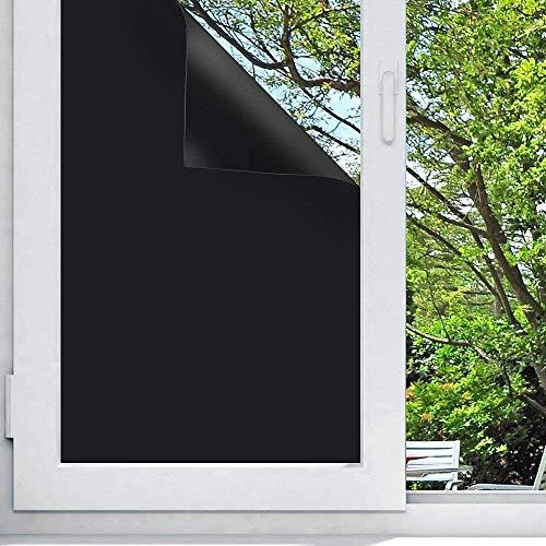 Shackcom Vinilo Película de Ventana Negro Mate Privacidad Pegatina 90 * 400cm-sin Adhesivo-Decorativas para Electrostatica Anti UV Cristal Laminas para Hogar Cocina Baño y Oficina-J030