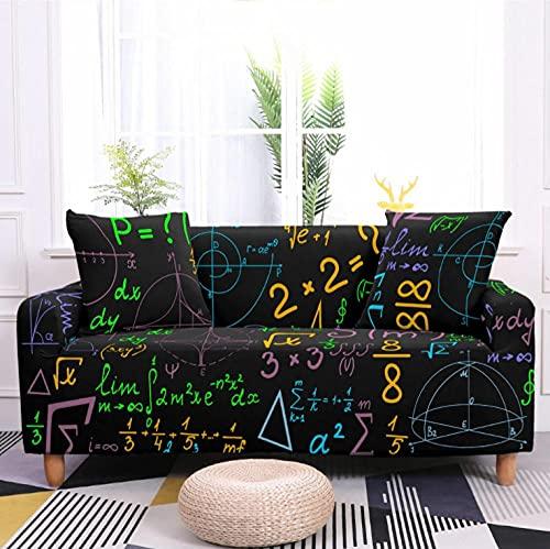 Patrón matemático Negro Funda de sofá de 2 Plazas Funda Elástica para Sofá Poliéster Suave Sofá Funda sofá Antideslizante Protector Cubierta de Muebles Elástica