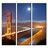 KDSFHLL 3 Pinturas Decorativas 3 Unids/Set Golden Gate Bridge Under Moon Painting Canvas Paisaje de la Noche del Puente para la decoración del baño Cartel Mural