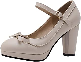 Caradise Womens Sweet Lolita Shoes Chunky Platform Mary Janes Pumps with Bow