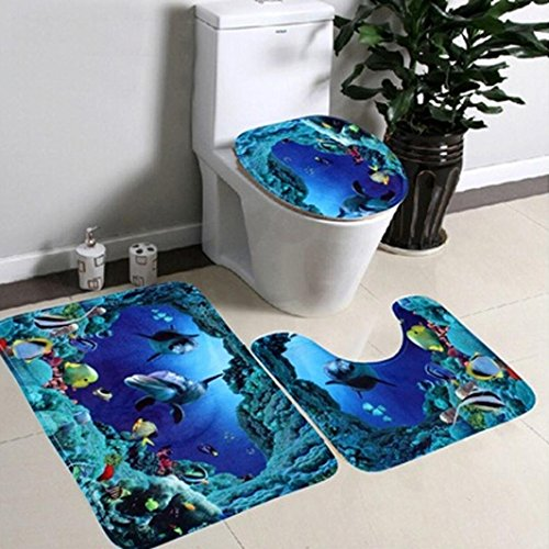 Toilet Seat, Gotd Bathroom Non-Slip Blue Ocean Style Pedestal Rug + Lid Toilet Cover + Bath Mat (Blue)