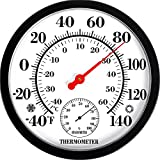 MIKSUS 10.5' Premium Indoor Outdoor Thermometer Hygrometer Wall Decorative (Upgraded Accuracy and Design)