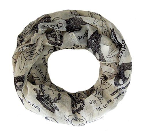 Loop Schal Aylin, Motiv Paris, großes Damen Schlauchtuch in creme schwarz