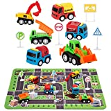 Construction Toys with Play Mat, Engineering Vehicles Set Include 6 Construction Trucks, 4 Road Signs, 14' x 18' Playmat, Pull Back Car Toys, Toys for 2 3 4 5 Year Old Boys Toddle Kid
