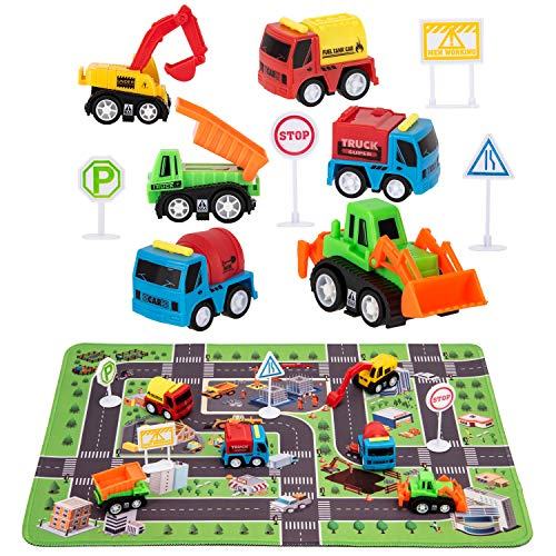 Construction Toys with Play Mat, Engineering Vehicles Set Include 6 Construction Trucks, 4 Road Signs, 14' x 18' Playmat, Pull Back Car Toys, Toys for 3 4 5 Year Old Boys Toddle Kid