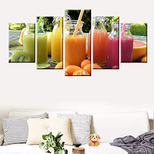 DGGDVP verse fruitafbeelding verse sap poster keukendecoratie HD-druk canvas schilderij 5 stuks moderne wooncultuur muurkunst 40x60cmx2 40x80cmx2 40x100cmx1 Met frame.