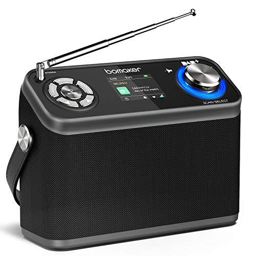 Radio Dab/Dab+/FM, Bomaker Radio Portatile Digitale, 40 Stazioni Preselezionati, Durata 12 ore, Timer, Sveglia, Display LCD a Colori, Altoparlante HIFI 8w, Bluetooth 5.0/AUX/USB/Earphone
