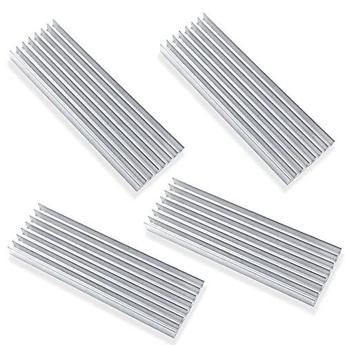 Akuoly 4 Stück Aluminium Kühlkörper PC Kühlrippen Kühler-Set Heatsink mit Thermoklebeband Kühler Fin für Verstärker Transistor Halbleiter,70mmx22mmx6mm,Silber