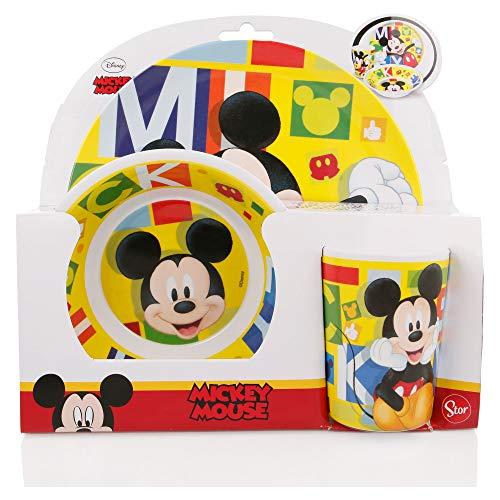 Stor - Set di 3 pezzi (piatto, scodella e bicchiere), diversi modelli disponibili (Disney, Frozen, LOL, Peppa Pig, Paw Patrol, ecc) Topolino