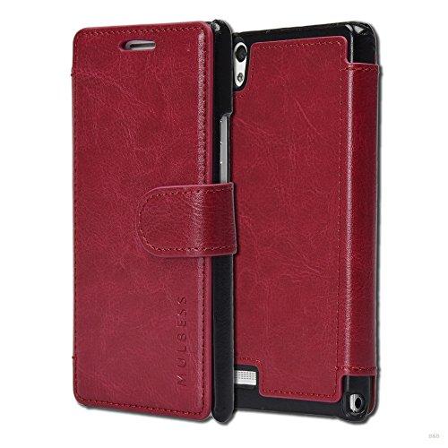 Mulbess Handyhülle für Huawei Ascend P6 Hülle Leder, Huawei Ascend P6 Handy Hülle, Layered Flip Handytasche Schutzhülle für Huawei Ascend P6 Hülle, Wein Rot