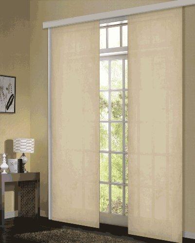 Gardinenbox Flächenvorhang, Schiebegardine Blickdicht matt, 2 Stück 245x60, Sand, aus Micro Satin (Mikrofaser Gewebe), mit Paneelwagen und Beschwerungsstange -085600-, 085600