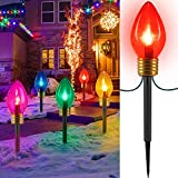 Jumbo C9 Christmas Lights Outdoor Decorations Lawn with Pathway Marker Stakes, 2 Pack C7 String Lights Covered Jumbo Multicolored Light Bulb, for Holiday Time Outside Yard Garden Decor, 10 Lights