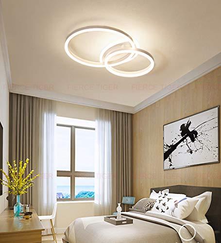 Lámpara de Techo LED regulable con control remoto, Lámpara de sala de estar Moderna LED Luz De Techo Lámpara de dormitorio Metal Diseño Geométrico Lámpara Colgante (Blanco, Techo-2-lámpara)