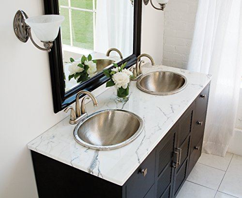 Sinkology SB203-18N Edison Dual Mount Oval Bathroom Sink, 18-0.5 Inch, Hammered Nickel