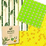 Pandoo - Juego de paños de crecimiento de abejas (3 tamaños) de algodón bio y cera de abejas, sin plásticos, natural y sostenible, alternativa a la película de conservación, lámina caja de plástico