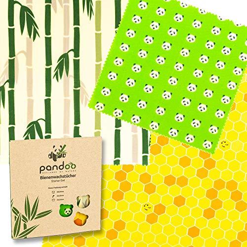 pandoo Bienenwachstücher Starter-Set aus Bio Baumwolle und Bienen-Wachs | plastikfrei, natürlich und nachhaltig | Alternative zu Frischhaltefolie, Alufolie und Frischhaltebox aus Plastik