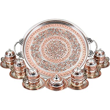 Traditional Design Handmade Copper Turkish Arabic Armenian Greek Coffee Set Coffee Cup Espresso Set Tea Set for Six-(CS6-120)