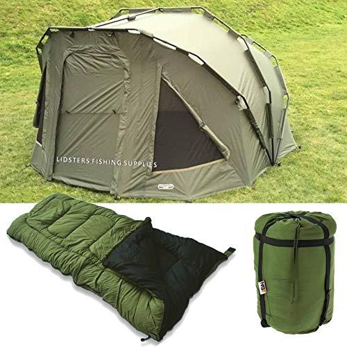2 Man Fortress Three 3 Rib Bivvy NGT Green Carp + 5 Seasons Fishing Sleeping Bag