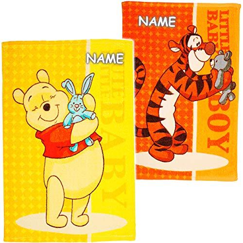 alles-meine.de GmbH 2 TLG. Set _ kleine Kinderhandtücher / Handtücher /Gästetücher - Disney - Winnie Pooh & Tigger - inkl. Name - Baumwolle 100 % - 40 cm * 60 cm - Frottee / Velo..